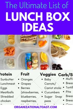 Back to School Lunch Box Ideas – Organizational Toast Super easy no heat lunch box ideas for school! Includes printable list of ideas so your kids don't get bored. This list is perfect for picky eaters too! Bento Box Lunch For Kids, Kids Packed Lunch, Kids Lunch For School, Lunch Snacks, Kids School Lunch Ideas, Cold Lunches, Healthy Lunches For Kids, Healthy School Lunches, Toddler Lunches