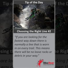 BikeRoar Tip of the Day: Choosing the Right Line (2) - If you are looking for the fastest way down there is normally a link that is worn in on every trial. This means there will be no loose rocks or debris in your way.  #BikeRoarTOD #TipoftheDay #cycling #downhill #trail #mtb #cx
