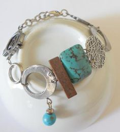 Silver circles and turquoise abstract bracelet , bohemian jewelry