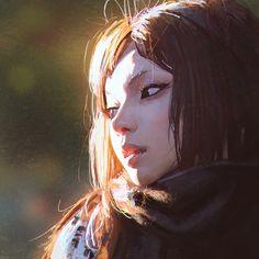 1girl brown_eyes brown_hair character_request ilya_kuvshinov lips long_hair looking_away nose realistic solo sunlight