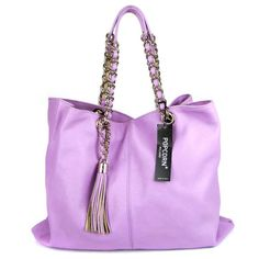 Popcorn Milano Italian Lilac Calfskin Leather Tote With Chain Handles