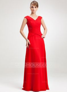 A-Line/Princess V-neck Floor-Length Chiffon Mother of the Bride Dress With Ruffle (008006264) - JJsHouse