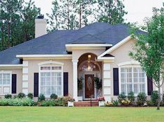 Decorating Your American Bungalow Style House Stucco Homes, Stucco Exterior, House Paint Exterior, Exterior House Colors, Modern Exterior, Bungalow Floor Plans, Southern House Plans, Mediterranean Design, Home Design Plans