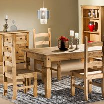 This Bonsoni Pine Corona Premium Dining Set is a beautiful piece of Dining table demostrating the Bonsonis unparallel quality and workmanship. This Corona 5 Dining Set comes in 4 boxes. This Bonsoni Pine Corona Premium Dining Set is made of Pine a Wooden Dining Set, Dining Table With Bench, Kitchen Dining Sets, Table And Chair Sets, Dining Table Chairs, Cheap Bedroom Furniture, Home Furniture, Garden Furniture, Mexican Pine Furniture
