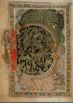 Cotton Nero C IV f.39 The jaws of Hell fastened by an angel, from the Psalter of Henry of Blois, c.1121-61 (vellum)