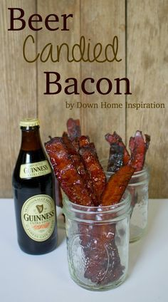 Oh man, there are no words to describe the amazing awesome-ness of this recipe other than to say it is BEER CANDIED BACON! Okay, if you read my last post you'll know that I hosted my husband's fantasy football draft last weekend. Beer Recipes, Bacon Recipes, Appetizer Recipes, Cooking Recipes, Jerky Recipes, Bacon Appetizers, Candied Bacon Recipe, Coffee Recipes, Snack Recipes