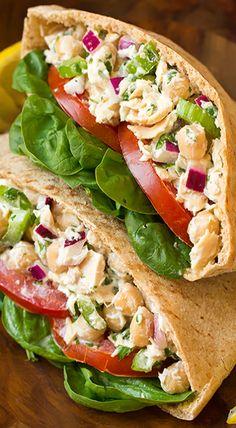 Tuna and Chickpea Pita Sandwiches