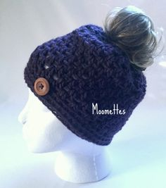 Crochet Handmade Messy Bun Hat Dark Purple by MoomettesCrochet