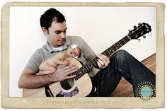 Daddy, newborn & guitar