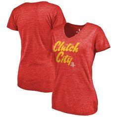 Houston Rockets Fanatics Branded Women's Hometown Collection Tri-Blend T-Shirt - Red