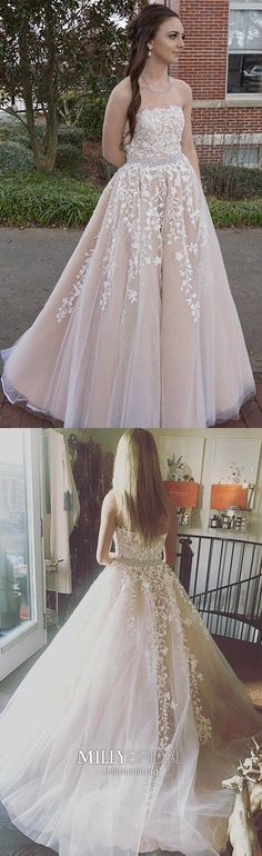Long Prom Dresses For Teens,Modest Pearl Pink Formal Evening Dresses Princess,Cheap Quinceanera Dresses Strapless,Elegant Wedding Party Dresses Lace #MillyBridal #Quinceanera #promdresses