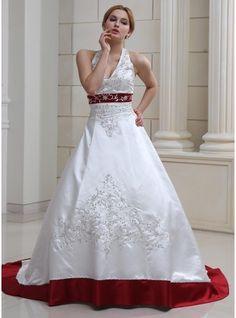 De baile Cabresto Cauda de sereia Cetim Vestido de noiva com Bordados Bordado Lantejoulas
