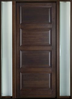 Clic Series Mahogany Solid Wood Front Entry Door Single With 2 Sidelites Db