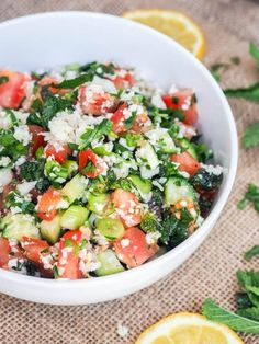 Paleo and Vegan Tabouli made with Rice Cauliflower and Veggies makes for the perfect summer picnic salad or bbq side dish! Rice Recipes Vegan, Best Vegetarian Recipes, Healthy Salad Recipes, Vegan Foods, Yummy Recipes, Free Recipes, Vegetarian Keto, Keto Foods, Vegan Snacks