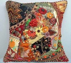 Crazy Quilting, Crazy Quilt Stitches, Crazy Quilt Blocks, Crazy Patchwork, Ribbon Embroidery, Embroidery Stitches, Embroidery Ideas, Fall Pillows, Art Textile