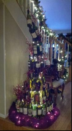 Wine Bottle Christmas Tree, my kind of Christmas tree!!!!