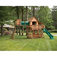 Backyard Discovery Woodridge Elite All Cedar Wooden Swing Set Playground Swing Set, Backyard Swing Sets, Large Backyard Landscaping, Backyard Playground, Backyard For Kids, Landscaping Ideas, Swing Set Plans, Swing Sets For Kids, Cool Playgrounds
