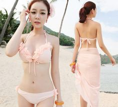 """Japanese sweet flowers bikini three-piece swimsuit, Use this coupon code """"Edin"""" to get all 10% off!"""
