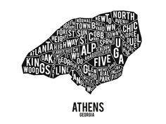 "Athens Georgia Typographic Neighborhood Poster/Print - 18x24"""