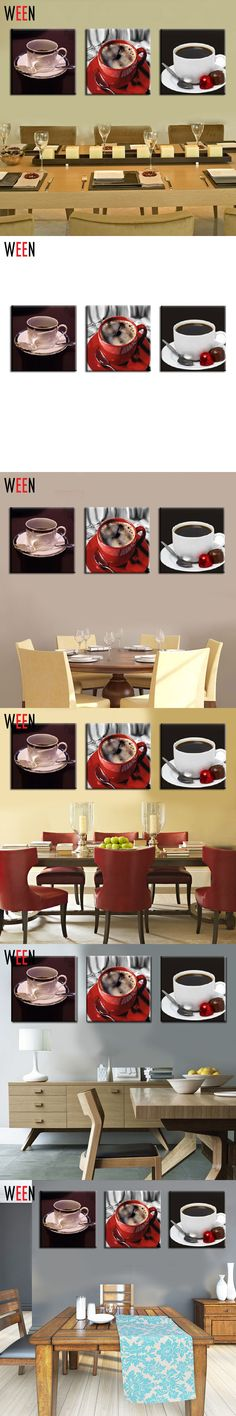 3 Piece Wall Art Painting On Canvas coffee cup kitchen oil painting Pintura Em Tela Modern Home Wall Decor Decorative Pictures $18.79
