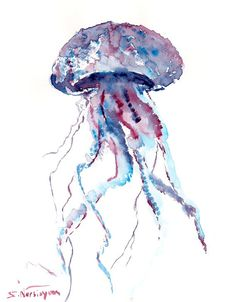 Blue Jelly Fish original watercolor painting 10 X by ORIGINALONLY, $23.00
