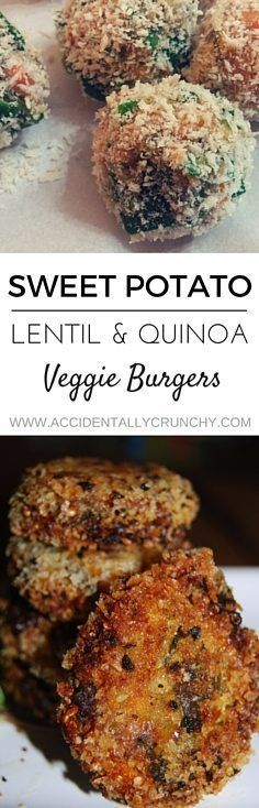 Vegan crispy burgers with sweet potato, lentils, quinoa, spinach and herbs