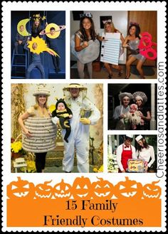 15 Family Friendly Costumes; great costumes for the whole family! #Halloween #familycostumes