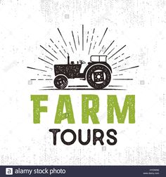Download this stock vector: Farm tours logo with tractor and sunbursts. Retro style. Black and green colors. Isolated on white background. - HYDNNM from Alamy's library of millions of high resolution stock photos, illustrations and vectors.