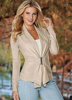 Buckle front cardigan, cami