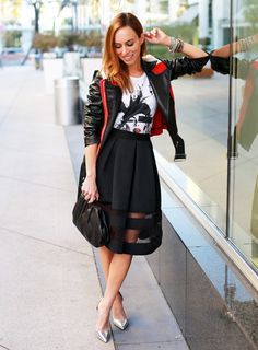 Sydne-Style-sheer-midi-skirt-express-graphic-tee-leather-colorblock-moto-jacket-monica-rose-lovers-and-friends