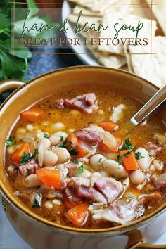 Ham and Bean Soup is classic comfort food that's a great use for leftover ham. Make this one quickly and easily on the stovetop, slow cooker, or in the pressure cooker! Quick And Easy Soup, Dinner Recipes Easy Quick, Delicious Dinner Recipes, Easy Weeknight Meals, Ham And Beans, Ham And Bean Soup, Best Soup Recipes, Chili Recipes, Easy Family Dinners