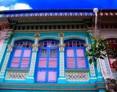 Beautiful colours of peranakan houses in Singapore.