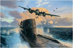 """""""Second Chance"""" by Mark Postlethwaite. A dramatic view of Lt. Johansen and Fern. Hulmen in 333 Sqn Mosquito HP864 as they attack the German submarine U-998 on 16th June 1944.  ~  Image size: 14"""" x 20"""" - Giclée on paper,signed by the artist."""