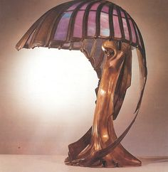 Peter Behrens  Table Lamp  Darmstadt, Germany 1902  Bronze and Colored Glass