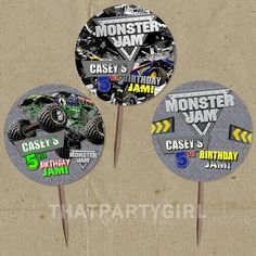 DIY personalized Monster Truck Party Favor Tags Cupcake Toppers - digital U Print on Etsy, $7.67 AUD