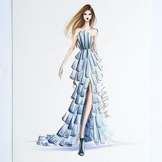 """""""One of a kind original sketch for sale . For pricing and info, email info@hnicholsillustration.com #fashionsketch #fashionillustration #milleniumtower…"""""""