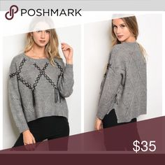 🆕 Hi-low Cropped Sweater Nice Fall/Winter casual piece. Hi-low gray cropped sweater with lace tie detail.  Material: 100% acrylic. Sweaters