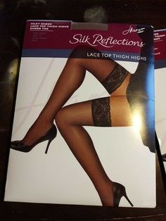 NWT Victoria/'s Secret Women/'s Black Nylon Blend Lace Top Stockings Sz C
