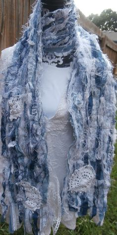 Denim and Lace Fiber Scrappy Scarf by CrossMyHeartBags on Etsy