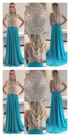 Blue Open Back Jewel Sweep Train Prom Dress with Beading by Ivoweddingdress, $143.62 USD Prom Dance, Chromatic Aberration, Prom Dresses, Formal Dresses, Wedding Veil, Jewel, Beading, Dress Shoes, How Are You Feeling