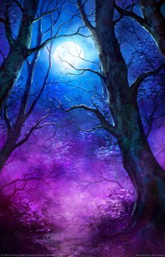 Moonlight Magic - Fantasy Wallpaper ID 1713899 - Desktop Nexus Abstract Art Soleil, Moon Pictures, Moon Painting, Beautiful Moon, Beautiful Things, Fantasy Landscape, Moon Art, Tree Art, Wallpaper Backgrounds