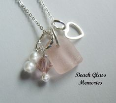 Pink Beach Glass Necklace, Sea Glass Jewelry, Heart Seaglass Jewelry on Etsy, $24.98