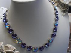 Tanzanite Blue/AB Multicolor Swarovski by ParisiJewelryDesigns, $130.00