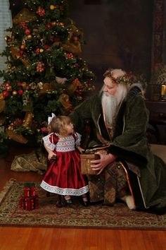 Father Christmas - pre-Victorian in green robes wearing a holly garland. Beautifully authentic .