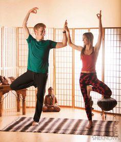 Beginners couple yoga