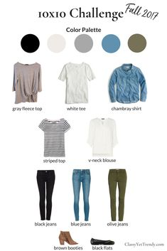Fall 2017 10x10 Challenge #fall10x10 - I'll be wearing 10 clothes and shoes in 10 outfits for 10 days. This mini capsule wardrobe tests how efficient your closet is in creating outfit ideas. Items include a white tee, blouse, grey top, striped t shirt, chambray shirt, olive jeans, blue jeans, black skinny jeans, ankle boots and black ballet flats.