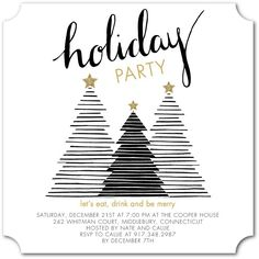 Tree Stripes - Flat Holiday Party Invitations in Black or Begonia Modern Christmas Cards, Noel Christmas, Christmas Greeting Cards, Christmas Greetings, Holiday Cards, Christmas Things, White Christmas, Office Holiday Party, Xmas Party
