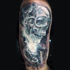 skull and clock
