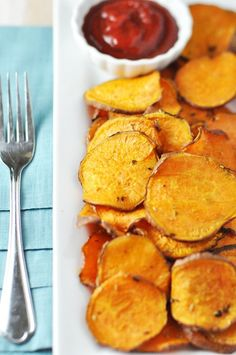 Baked sweet potato fries! Don't even thing about opening a bag of greasy potato chips for the party, serve these!!