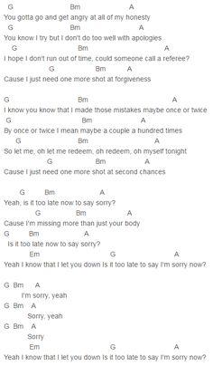 Capo 1 Sorry Chords Justin Bieber